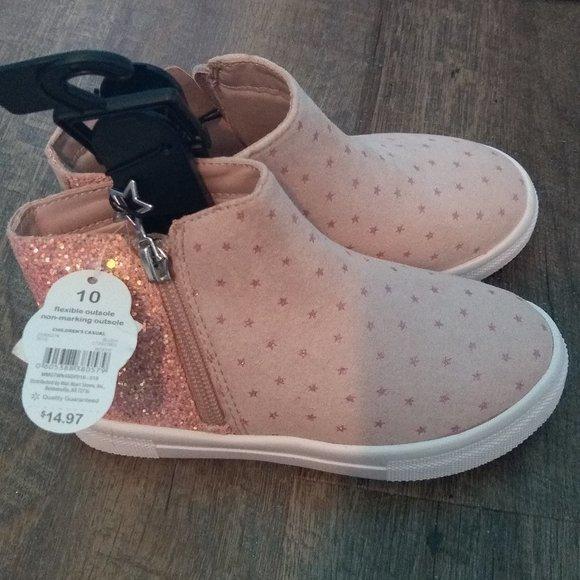 Wonder Nation Girls Shoes Glitter Star Design Zipper Side Black Casual
